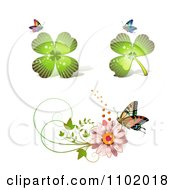 Shamrock Clover And Daisy Design Elements With Butterflies