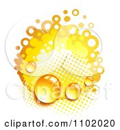 Clipart Dew On Orange Halftone And Circles Royalty Free Vector Illustration