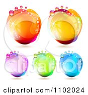 Clipart Reflective Colorful Water Drops 1 Royalty Free Vector Illustration