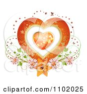 Clipart Heart Inside A Heart With Butterflies And Flowers On White Royalty Free Vector Illustration by merlinul