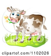 Clipart Cow Eating Flowers Royalty Free Vector Illustration by merlinul