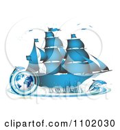 Clipart Blue Ship With Dolphins And A Globe Royalty Free Vector Illustration by merlinul