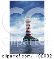 3d Red And White Island Nautical Light House On A Calm Day