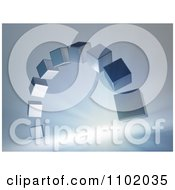 Clipart 3d Silver Cubes Forming An Arch Over Rays On Gray Royalty Free CGI Illustration