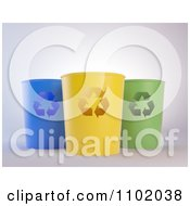 Clipart 3d Blue Yellow And Green Recycle Bins Royalty Free CGI Illustration by Mopic