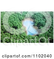 Clipart 3d Blue Keyhole Lake In A Lush Forest Royalty Free CGI Illustration