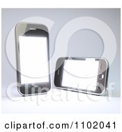 Clipart Two 3d Touch Screen Smart Phones With Blank Displays Royalty Free CGI Illustration