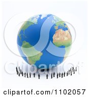 3d Little People Standing Around An Earth Globe