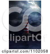 3d Red And White Coastal Nautical Light House In A Storm