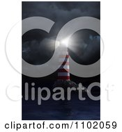 3d Red And White Coastal Nautical Light House Shining Its Beacon In A Storm
