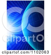 Clipart Bright Light And Coding Shining Down On A Binary Grid Globe Over Blue Royalty Free CGI Illustration