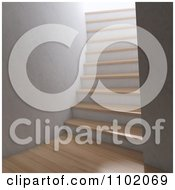 Clipart 3d Interior With Wooden Floors And A Steep Staircase Royalty Free CGI Illustration