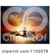 Clipart 3d Rocket At Take Off To Outer Space Royalty Free CGI Illustration