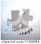 Clipart 3d Little People Standing In Front Of A Giant Silver Puzzle Piece Royalty Free CGI Illustration by Mopic