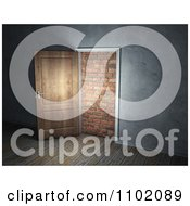 Clipart 3d Interior Of An Open Door Leading To A Brick Wall Royalty Free CGI Illustration by Mopic