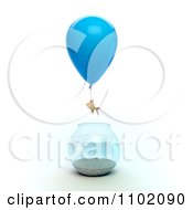 Clipart 3d Goldfish Escaping From A Bowl With A Balloon Royalty Free CGI Illustration