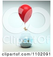 Clipart 3d Goldfish Taking Off From A Bowl With A Balloon Royalty Free CGI Illustration by Mopic