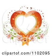 Heart Frame With Butterflies And Flowers On White
