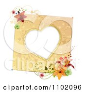 Clipart Heart Frame With Lilies Royalty Free Vector Illustration