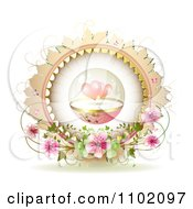 Clipart Protected Hearts In A Sphere Over Blossoms In A Frame On White Royalty Free Vector Illustration
