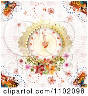 Clipart Heart Clock With Flowers And Butterflies On Pink Royalty Free Vector Illustration