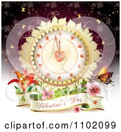 Clipart Valentines Banner Under A Heart Clock With Flowers And Butterflies On Purple Royalty Free Vector Illustration