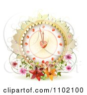 Clipart Valentines Day Heart Clock With Flowers And Butterflies On White Royalty Free Vector Illustration