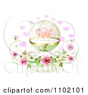 Clipart Protected Hearts In A Sphere Over Pink Blossoms On White Royalty Free Vector Illustration