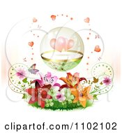 Clipart Protected Hearts In A Sphere Over Lilies And Butterflies On White Royalty Free Vector Illustration
