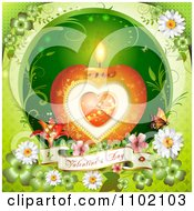 Clipart Heart Candle With A Valentines Day Banner On Green Royalty Free Vector Illustration