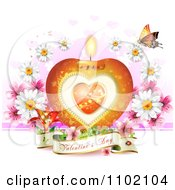 Clipart Heart Candle With A Valentines Day Banner Butterfly And Daisies On White Royalty Free Vector Illustration