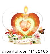 Clipart Heart Candle With A Valentines Day Banner And Butterfly On White Royalty Free Vector Illustration