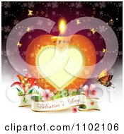 Clipart Heart Candle With A Valentines Day Banner On Red Royalty Free Vector Illustration