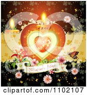 Clipart Heart Candle With A Valentines Day Banner Flowers And Butterfly Over Red 2 Royalty Free Vector Illustration