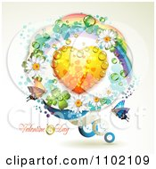 Clipart Valentines Day Text With A Dewy Heart In A Circle Of Rainbows And Butterflies And Flowers Royalty Free Vector Illustration