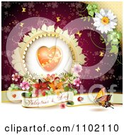 Clipart Valentine Day Banner Under A Floral Heart On Red Royalty Free Vector Illustration