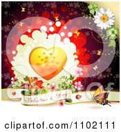 Clipart Valentine Day Banner Under An Orange Heart On Red Royalty Free Vector Illustration