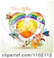 Clipart Rainbow Valentine Heart With Dew And Butterflies Royalty Free Vector Illustration