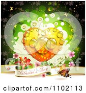 Clipart Valentine Day Banner Under A Dewy Orange Heart On Green Royalty Free Vector Illustration