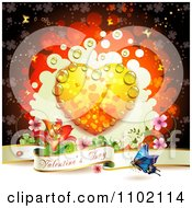 Clipart Valentine Day Banner Under A Dewy Orange Heart On Red Royalty Free Vector Illustration