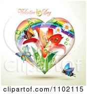 Clipart Rainbow Lily Valentine Heart With Dew And Butterflies Royalty Free Vector Illustration