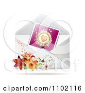 Clipart Heart Photo In An Envelope With Lilies Royalty Free Vector Illustration by merlinul