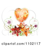 Clipart Gold And Orange Floral Heart Over Lilies Royalty Free Vector Illustration