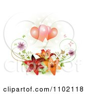 Clipart Two Hearts Over Lilies Royalty Free Vector Illustration