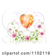 Clipart Gold And Orange Floral Heart Over Blossoms Royalty Free Vector Illustration