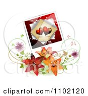 Clipart Heart Instant Photo Over Lilies Royalty Free Vector Illustration by merlinul