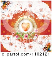 Clipart Valentine Background With An Orange Floral Heart Butterflies And Vines 1 Royalty Free Vector Illustration