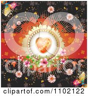 Clipart Valentine Background With An Orange Floral Heart Butterflies And Vines 2 Royalty Free Vector Illustration