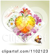 Clipart Valentines Day Text With A Dewy Heart In A Diamond Of Dew And Butterflies And Flowers Royalty Free Vector Illustration