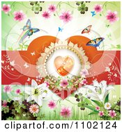 Clipart Heart In A Frame With Lilies Blossoms Clovers And Butterflies Royalty Free Vector Illustration